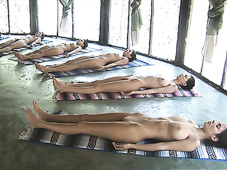 Beauty ukrainian girls in naked yoga class