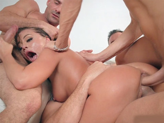 Triple fucked brunette slut