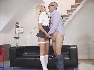 Schoolgirl vs old man hardcore action