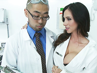 Busty doctor sucking cock