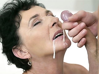 Old brunette got hooked on swallowing sperm in her late 60s